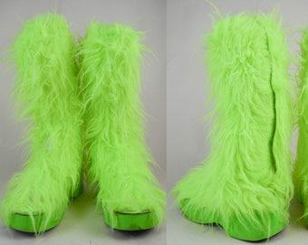 90s Cyber Goth Lime Green Neon Furry Knee High Platform Boots UK 8 / US 10.5 / EU 41