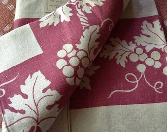 Vintage Linen Tablecloth Grapes Leaves Print Rose Pink On White Pretty Cottage Dining Table
