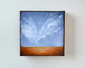 ON SALE Oil painting, landscape, clouds, neutral home decor, wall art - Stormscape series sixtytwo
