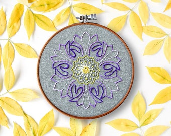 flower embroidery pattern, FLOWER mandala, modern hand embroidery, contemporary, beginner embroidery floral embroidery pattern, diy hoop art