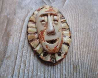 Ceramic Pendant Face Pendant Tribal Pendant Three holes at the bottom Two hole at the top