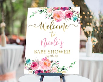 Floral Baby Shower Welcome Sign Printable Personalized Shower Welcome Sign - Flower Baby Shower Customized Sign - Rustic chic welcome sign