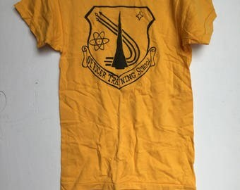 Rare Vintage 1960s Officers Training School tee t-shirt Small Atomic Academy yellow USN symbols US Navy School Military Unisex top Hipster