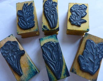 6 Rubber Stamps, Old French School. Flora & Fauna, Flowers, Vegetables. Circa 1960's
