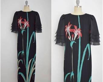 25% OFF SALE Vintage 1980s Black Chiffon Floral  Dress