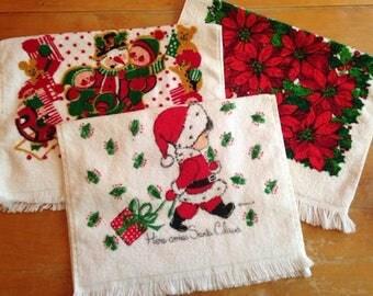 vintage 6 piece christmas handtowel washcloth set - nos / nwot / unused