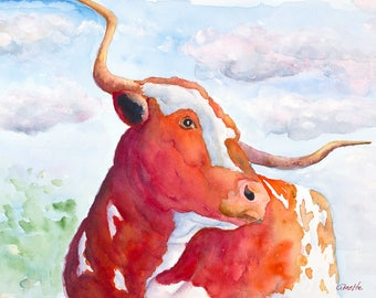 Texas longhorn print original cow painting longhorn painting longhorn art canvas rustic ranch western art farm longhorn cattle art  big huge