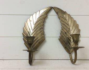 Vintage Brass Candle Sconces~Brass Leaf~Angel Wings~~Wall Sconces~Candles~Pair Sconces~
