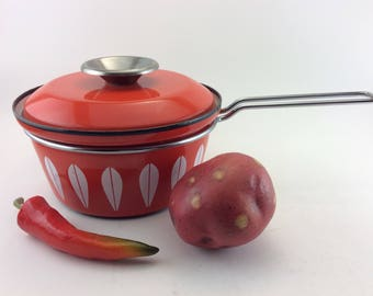 Cathrineholm Saucepan Cathrineholm Norway Lotus Orange Saucepan Medium Saucepan Enamel Pan Lidded Sauce Pan