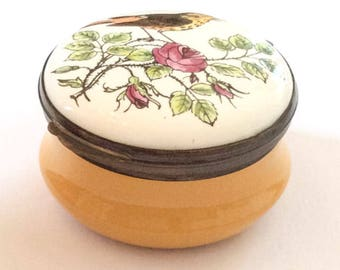Porcelain Deep Yellow Trinket Box, Hand Painted, Songbird, Rose, Crummles English Vintage SUMMER SALE