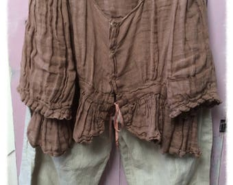 Pure Linen Bloomers Magnolia Pearl Style Womens Clothing XL Shabby Chic Bohemian Altered Tan Pinstripes