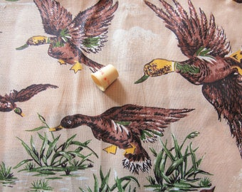 duck novelty print vintage cotton fabric -- 36 inches by 2 1/2 yards