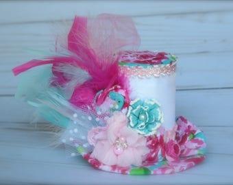 Vintage Inspired Floral Tea Pot Alice in Wonderland Tea Party Mad Hatter - Mini Top Hat Headband (or fascinator)- Birthday Photo Prop