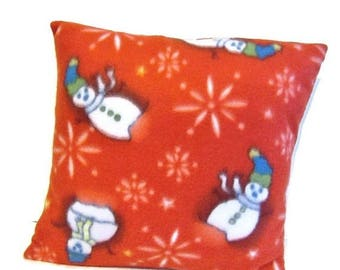 ON SALE Red Fleece Winter Snowmen Throw Pillow Sham Cover Vintage Homemade Style