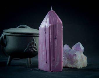 Tall Crystal purple bleeding purple candle
