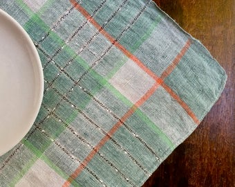 Linen Woven Plaid Tablecloth In Seafoam Blue, Green, Cantaloupe And Gray,  Silky Soft