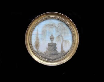 MercurysMoon-Memento Mori Lovely Antique French Hair Reliquary  in Beautiful Frame-Mourning Scene in Delicate Colors