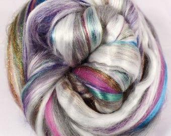 Abalone  -( 4 oz.)  Custom blended top - Pearl Fiber/  Merino / Mulberry Silk/ Rainbow Tribal Sparkle  ( 25/25/40/10 )
