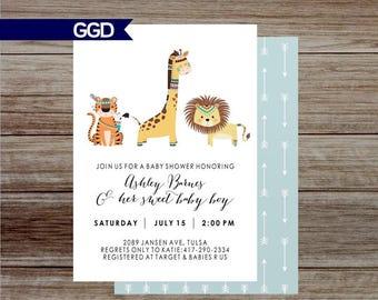 Jungle Baby Shower Invitation, safari baby shower, zoo baby shower, animal baby shower invite, wild one baby shower