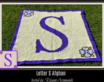 Letter S Afghan, C2C Graph with Written Word Chart