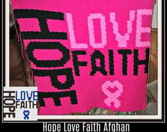 Hope Love Faith C2C Graph, Hope Love Faith Corner to Corner, Crochet Pattern, C2C Graph