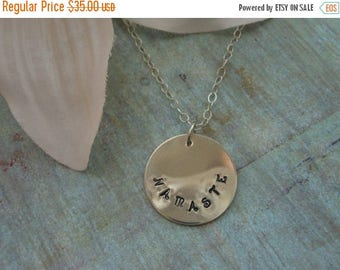 Christmas in July SALE Yoga Jewelry, NAMASTE Necklace, Sterling Silver, Hand Stamped,Spiritual Jewelry, Gift for Best Friend, Jewelry with M