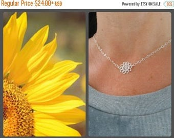 Christmas in July SALE Choker, Sterling Silver, Sunflower Choker Necklace, Layering Jewelry,Gift for Best Friend,Dainty Necklace, Sister Jew