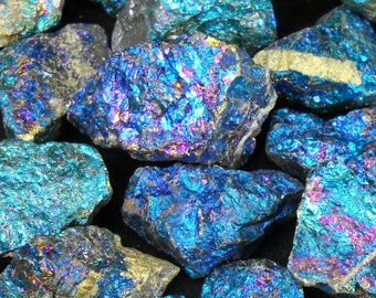 "Multipack 1.5""-2"" SIZE BIG Peacock Ore gemstone iridescent rock stone crystals chalcopyrite bornite blue purple turquoise gold"
