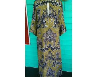 Amazing Vintage 1970s Bill Tice Cotton Kaftan Dress Indonesian Wood Block Silk Screen