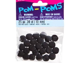 DARICE Pom Poms - Black - .39 inch - 25 pieces per pkg.
