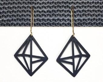 Industrial 3d Earrings, Long Earrings, Geometric Black Hook Earrings, Modern 3d Jewelry