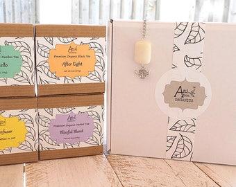 Tea Gift Box, Organic Tea, Handmade Tea Infuser, Under 30 dollars, Tea Lover Gift, Whole Leaf Tea, Girlfriend Gift, Boyfriend Gift
