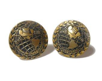 Hi Hat club cuff links, Philco radio club, franchise salesman gift sales award, top hat on globe of the Americas, round gold antiqued cuffs