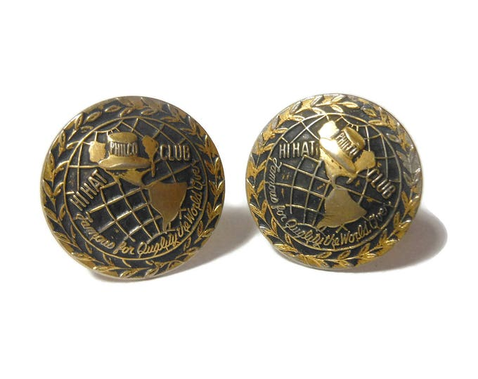 Hi Hat club cuff links, Philco radio club, franchise salesman gift sales award, top hat on globe of Americas, round gold antiqued, vintage