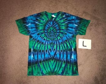 Tie Dye T-Shirt ~ Aqua Spider Spiral i_6081 in Adult Large