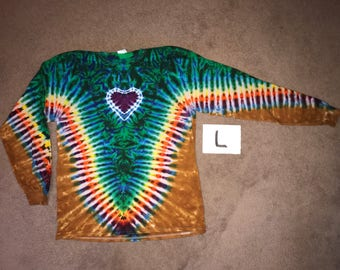 Tie Dye T-Shirt ~ Rainbow V with Purple Heart and Palomino Gold Background~ i-8267 Long Sleeve Adult Large