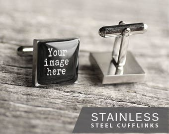 Custom cufflink, Stainless steel cuff, Personalized cufflinks, Custom logo cufflink, Wedding cufflinks, Gift for Him, for men, Father's day