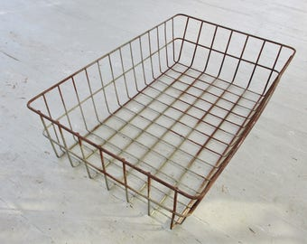 Vintage Wire Basket Large Metal Wire Storage Bin Chipped Rusty Industrial Decor