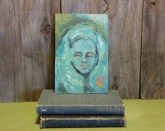 Hand Painted Portrait of Woman Painting Artwork Green Acrylic Paint Vintage 1970s 70s (G)