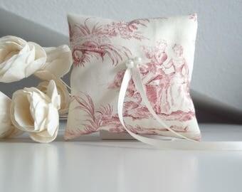 Ring bearer pillow, Toile de Jouy, Wedding ring cushion, vintage wedding,  Romantic wedding pillow