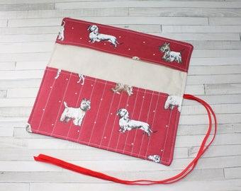 Crochet starter set, crochet hook holder, crochet hook roll, red cotton fabric with dogs