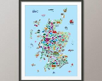Scotland Animal Map for children and kids, Scotland Map, Art Print (2850)
