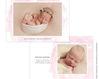 INSTANT DOWNLOAD - PSD 5x7 Birth Announcement Template -  E1496