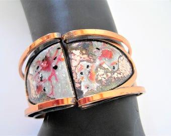 Matisse Renoir Bracelet - Enamel Copper Cuff - Hinged Bangle