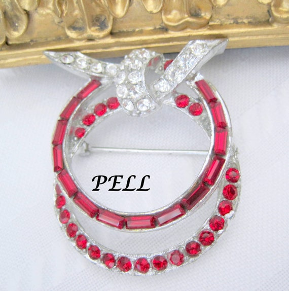 Pell Red Brooch - Designer Signed Rhinestones - Channel Set - Rhinestone Pin