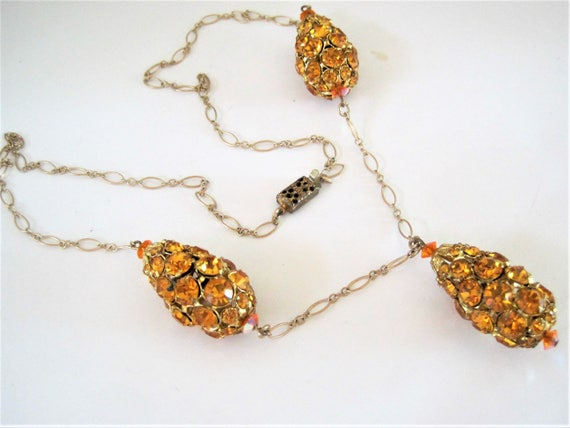Citrine  Necklace - Rhinestone Covered Balls  -  3 large Dangles - Y Necklace