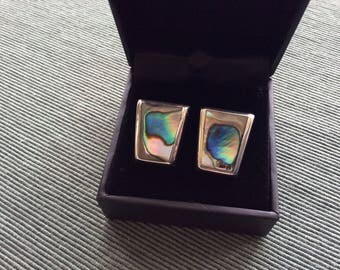 Beautiful Vintage Sterling Silver & Mother of Pearl clip on Earrings 925