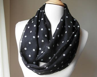 Infinity Scarf, Silver Polka Dots in Black Background