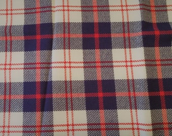 Retro Red, White and Blue Plaid Fabric