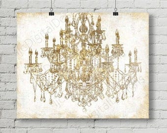 Beau Printable Digital Gold Chandelier Wall Art Decoration, Chandelier Poster,  Chandelier Print, Large Size